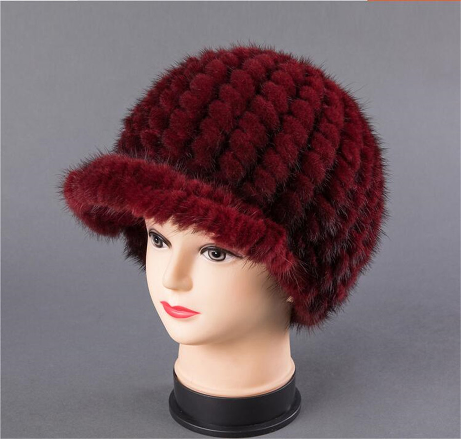 BFDADI New Fshion And Warm Hat For Women Real Natural Mink Fur Cap High quality Cute with ears and tail Hat Snow Warm - 3