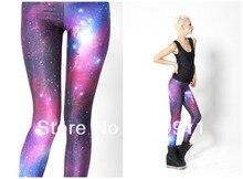 free shipping good quality new women galaxy space leggings fluorescent purple black milk digital print