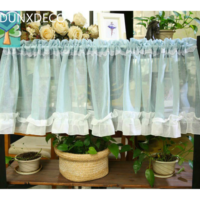 DUNXDECO Country Style Bean Green Sheer Curtains Store Decoration Kitchen  Half Tulle Curtain Rideau Gardinean Photo