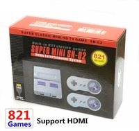 8Bit Mini HD HDMI TV Retro Family Video Game Console Handheld Built in 821 Classic for SNES Games Dual Gamepad Player PAL&NTSC
