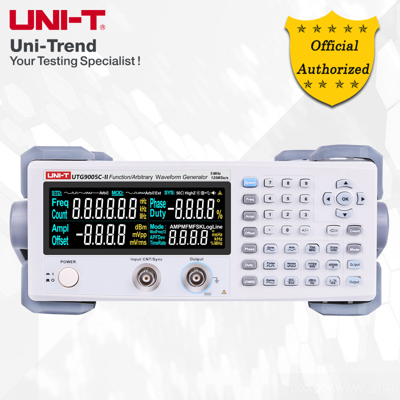 UNI-T UTG9005C-II function / arbitrary waveform generator; 5MHz single channel digital signal source, 125MS / s sampling rate