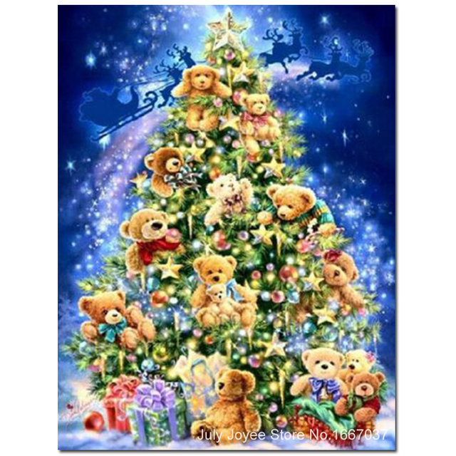 the christmas tree decorated with many toy bears diy painting rhinestones 3d embroidery with diamond household - Christmas Tree Toy Decorations