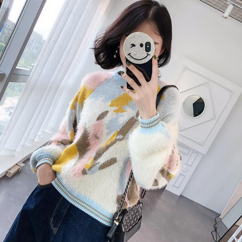 2019 New Three Color Crash Sweater Warm Sleeves Long Sleeved Sweater Casual Commuter Pullovers Fashion Sweater Women