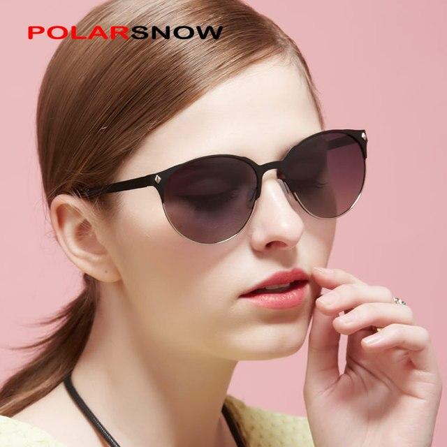 d4370db8b9 POLARSNOW Mujeres Moda gafas de Sol Polarizadas Forma Redonda de La Vendimia  Gafas De Sol Feminino