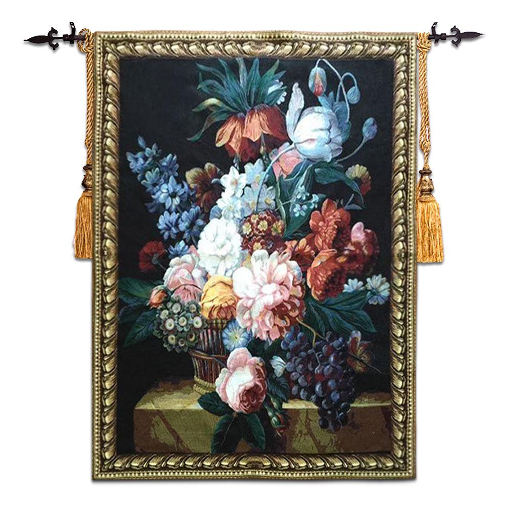 100x138 cm Belga tessuto jacquard arazzo Europea pastorale pittura di fiori still life di frutta fiore frutta dipinti parete tappeto ST-26