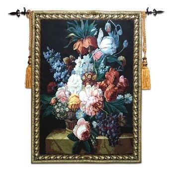 100x138cm Belgian jacquard fabric tapestry European pastoral painting flower still life flower fruit paintings wall carpet ST-26