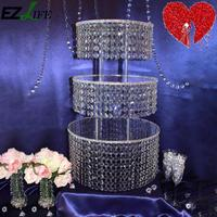 EZLIFE Luxury 3 Layers Crystal Clear Acrylic Square Wedding Cup Cake Stand Tower For Unforgettable Beautiful Wedding DHA5483