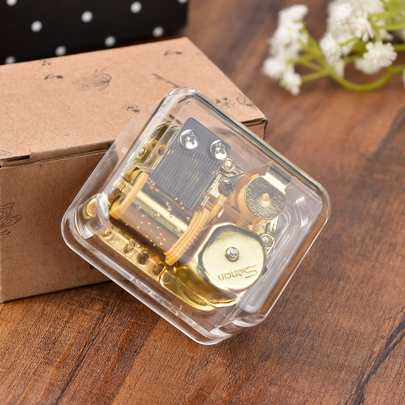 Hot Creative Exquisite Circle Gold Transparent Wind Up Music Box Gift Castle In The Sky Happy Birthday 6 Songs
