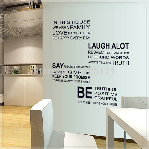 Romantic Letter Sticker Family Rules Home Decor Quotes Office