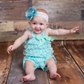 Top Sale Infant Girl Mint Lace Ruffle Pettiromper Fancy Girl Romper Design Jumpsuit without headband Free Shipping