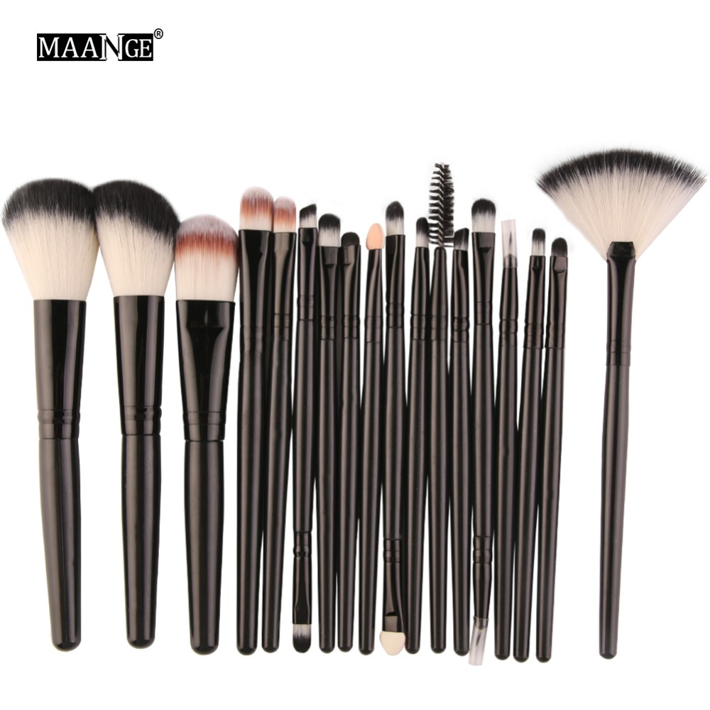 MAANGE Pro 18Pcs Makeup Brushes Set Foundation Powder Blush Eyeshadow Eyeliner Lip Cosmetic Beauty Make up Brushes Kit Tools