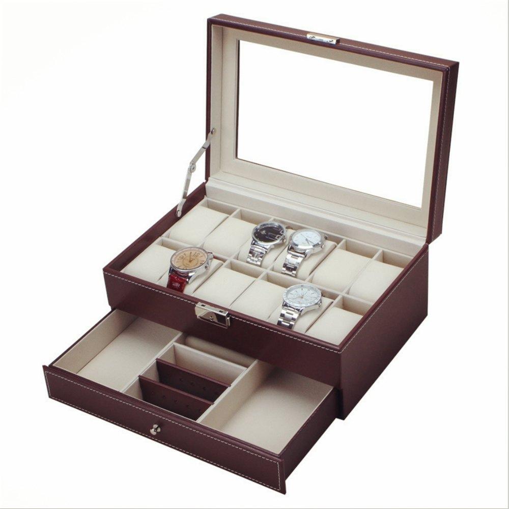 Prix pour Multifonctionnel Montres Boîtes Cas Tiroir-style PU Montre Affichage Boîte Retournement Bijoux Organisateur De Stockage De Boîte-Cadeau pour Montres
