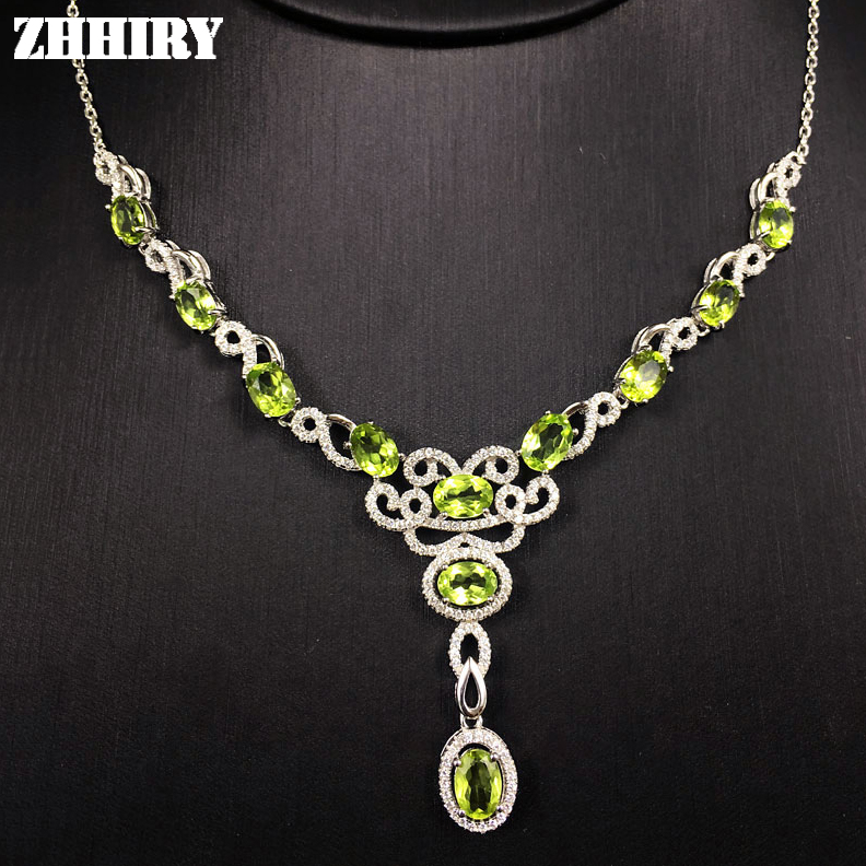 Lady s Necklace Natural Peridot Gemstone Woman Jewelry Solid 925 Sterling Silver Pendant