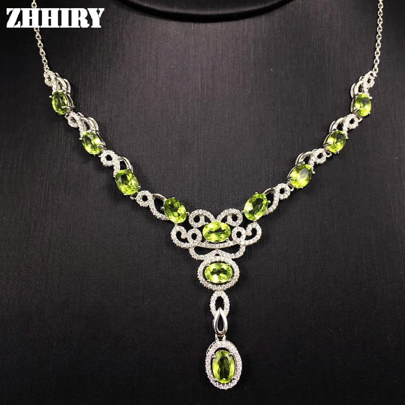 Collier de dame péridot naturel pierres précieuses femme bijoux solide 925 pendentif en argent Sterling