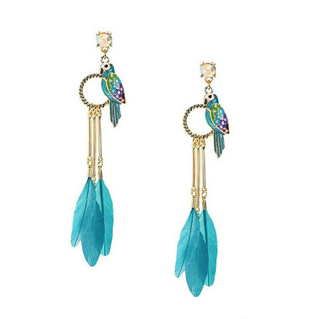 Angle Wing Long Feather Earrings