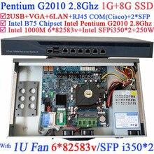 Broadband VPN Router 1U Firewall Server with 8 ports Gigabit lan Intel Pentium G2010 2.8G 1G RAM 8G SSD Mikrotik PFSense ROS etc