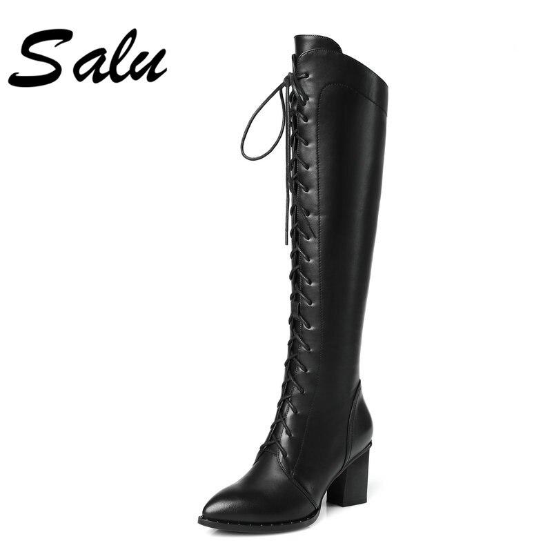 5c7b5bb19ce2 Salu Hauts En jaune Longue Femme Avec Bottes Marque Chaussures D hiver Noir  Talons Cuir Véritable ...