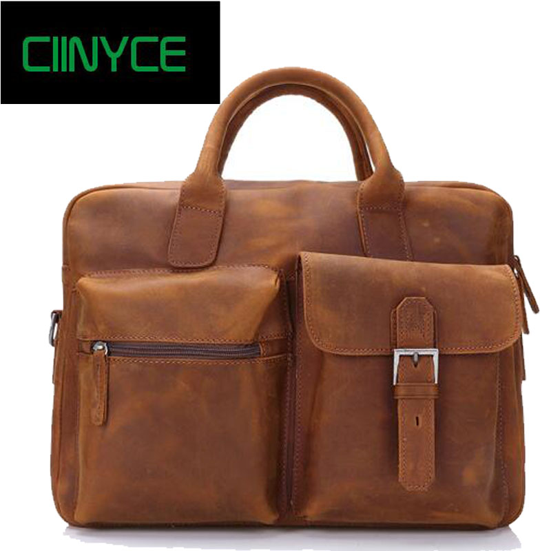 Vintage Sale Crazy Horse Leather Portfolio 15 Inch Laptop Totes High Quality Messenger Shoulder Handbag Business Briefcase Bags