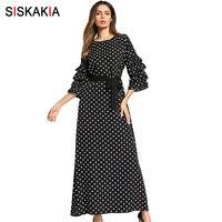 Siskakia Fashion ladies Maxi long Dress Black White Dot Cascading ruffles Sleeve design Muslim dresses Spring 2018 slim lace up