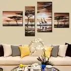 Животное картина маслом жираффи Африканский пейзаж саванны картина 4 шт. художественные наборы животное холст картина плакат пейзаж без ра...