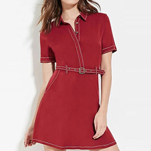 High Quality Spring Summer Femme Ol Temperament Slim Dresses Polo Neck Short Sleeve Casual Dress Plus Size Women Clothing Z063