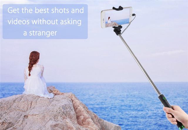 Luxury Wired Selfie Stick Extendable Handheld Monopod Fold Self-portrait Holder