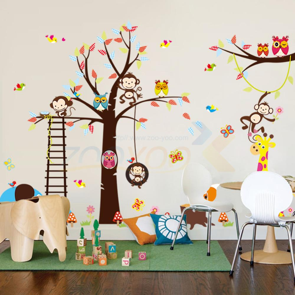 Cute 140*235cm Monkey Elephant Giraffe Tree Wall Stickers For Kids Rooms Home Decor Cartoon Animals Wall Decals PVC Mural Art