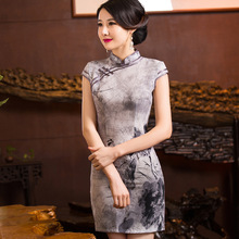 Summer style Chinese Painting Cheongsam short sleeve chi-pao Evening Dress Party Dress vestidos Tang suit Size:S-3XL