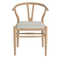 Drewnianym Fotelu z Oparciem, EGGREE Skandynawskiego Wzornictwa Krzesło Tkaniny Siedzenia Pokój Dzienny Jadalnia Salon Biura, beżowy