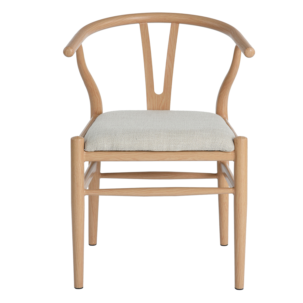 Wooden Armchair with Backrest, EGGREE Scandinavian Design Chair Fabric Seat Living Room Dining Room Lounge Office, Beige