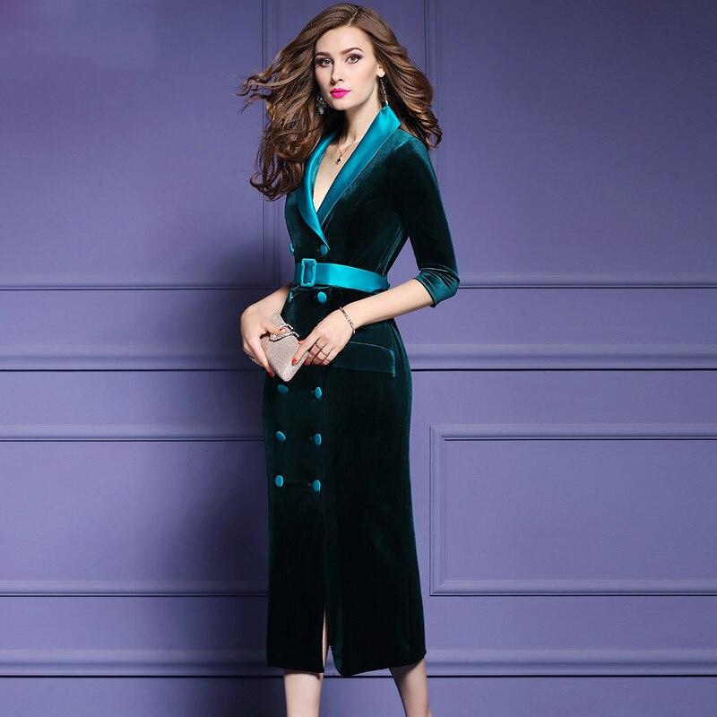 Qian Han Zi najnowszy fashion Runway płaszcz kobiet trzy czwarte rękawem podwójne piersi szczupła Party aksamitna długi płaszcz w Wełna i mieszanki od Odzież damska na  Grupa 2