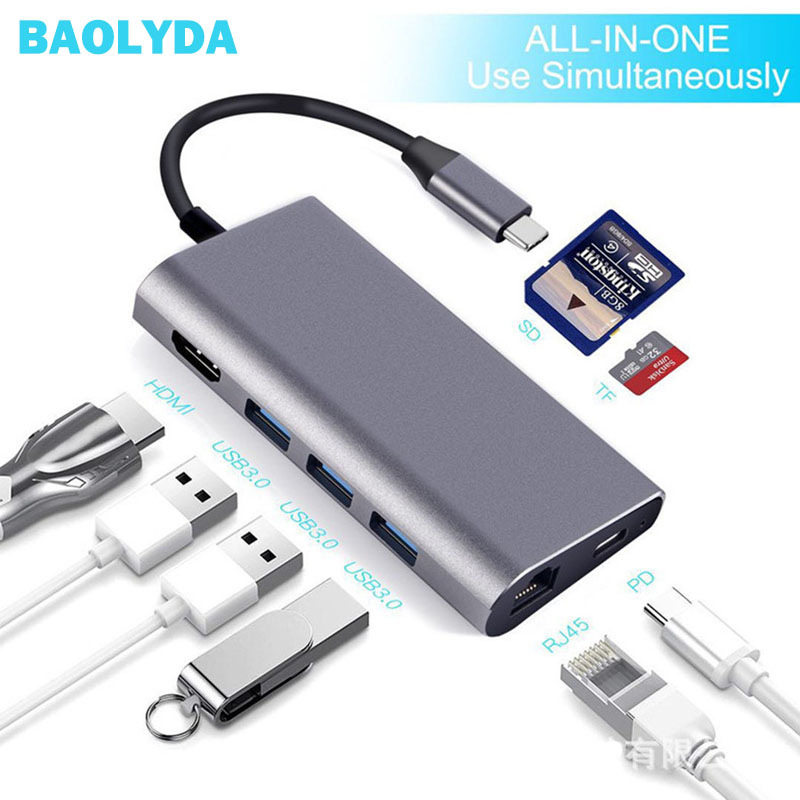 Thunderbolt 3 USB C to HDMI RJ45 USB3.0 USB2.0 Hub TF SD USB-C PD Dock Adapter