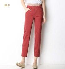 Cotton capris casual plus size ealstic waist straight pants for women summer spring autumn high waist blue red green jjl0601