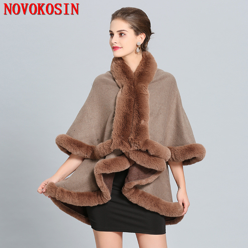 2018 Oversize Women European Cardigan Coat Winter Warm Fake Fox Fur Long Knitted 2 Layer Solid Poncho Cape Cloak in Women 39 s Scarves from Apparel Accessories