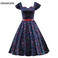 FRISMODE S 3XL Cute Cherry Print Audrey Hepburn Vintage Dress Butterfly Sleeve Swing Midi 50s Rockabilly