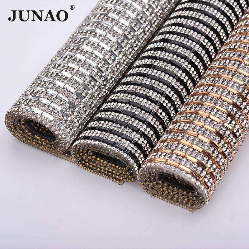 JUNAO 24*40cm Clear Black Hotfix Rhinestone Mesh Crystal Fabric Sheet Glass Trim Applique Strass Ribbon Clothes Jewelry Crafts