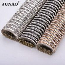 JUNAO 24*40cm Clear Black Hotfix Glass Rhinestone Mesh Trim Crystal Fabric Sheet Strass Ribbon Clothes Applique Jewelry Crafts