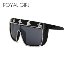 ROYAL GIRL New Style 2017 Luxury Brand Designer Square Sunglasses Women Rhinestone Vintage Oversized Glasses Oculos ss108