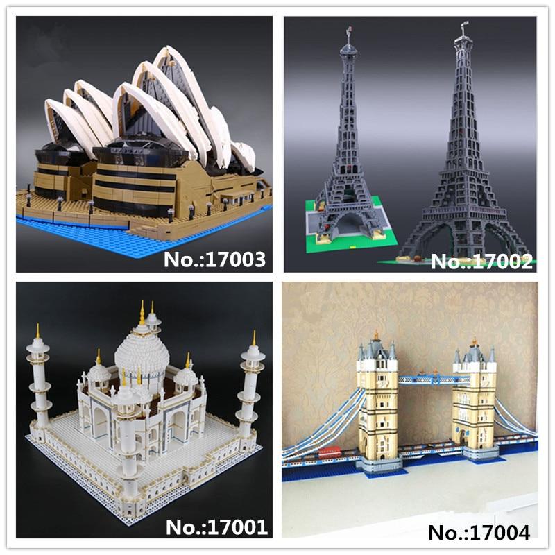 LEPIN 17001 Le taj mahal 17002 La Tour Eiffel 17003 Sydney Opera House 17004 London bridge Building Block 10214 10189 10181