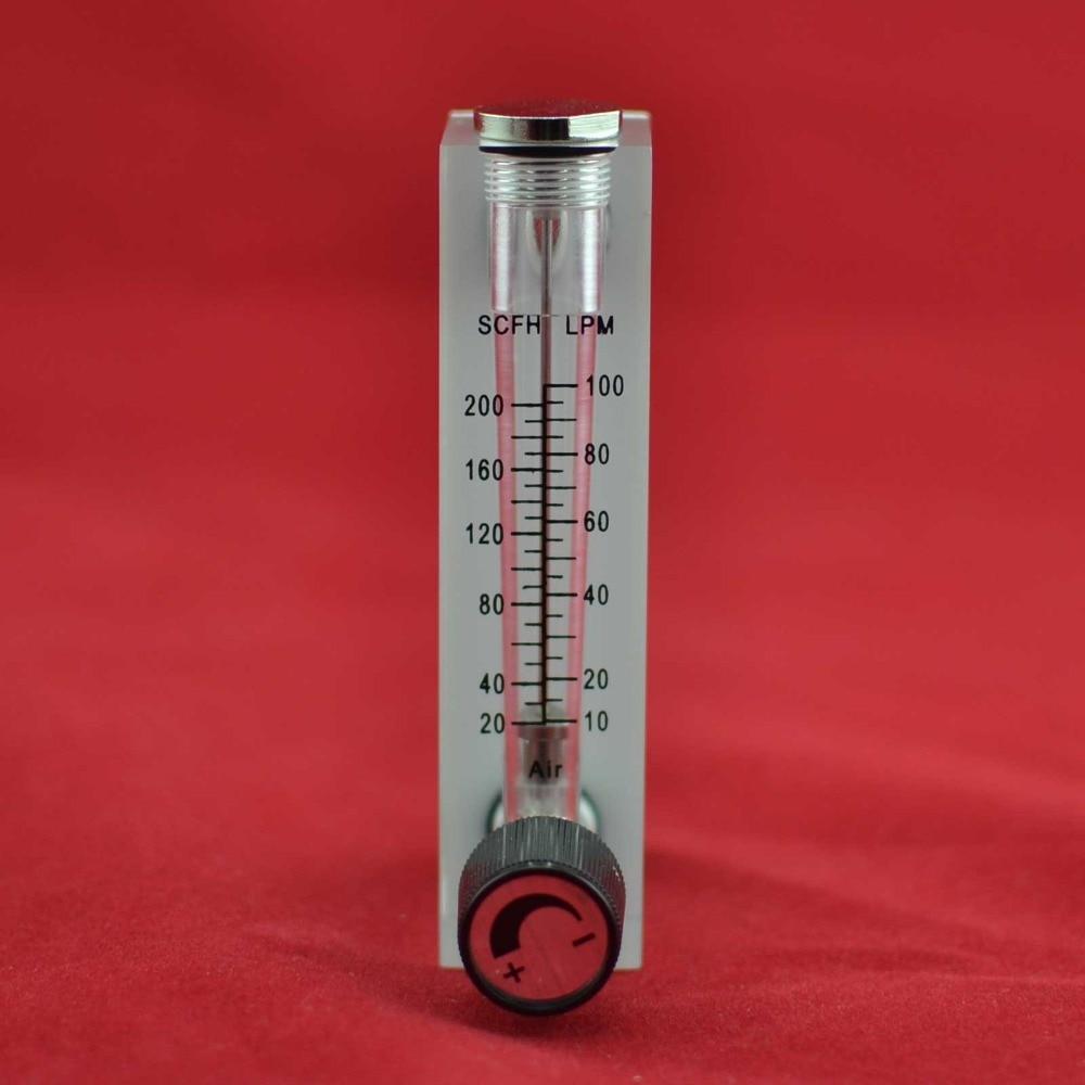 "پانل LZM-6T 10-100LPM / 20-200SCFH نوع فلومتر سنج اکریلیک (کنتور) با اتصالات سوپاپ تنظیم سوپاپ زن G1 / 4 ""نر M18 * 1.5"