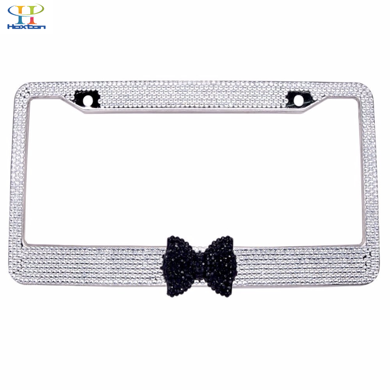 2Pcs Silver White Bling Crystal Rhinestone Tie License Plate Frame Car Auto