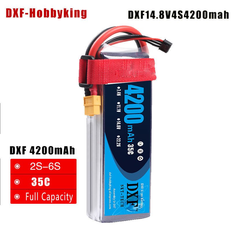 2017 DXF Good Quality Lipo Battery 14.8V 4S 4200MAH 45C max90C RC AKKU Bateria for Airplane Helicopter Boat FPV Drone UAV 2017 dxf good quality lipo battery 11 1v 3s 4200mah 45c max90c rc akku bateria for airplane helicopter boat fpv drone uav