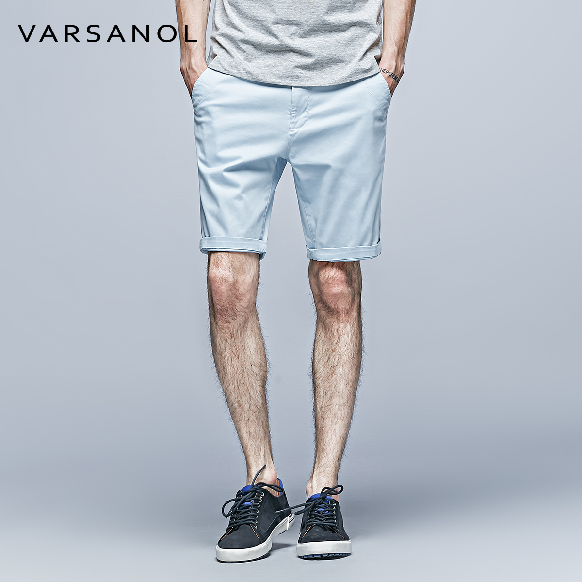VARSANOL Official Store VARSANOL New Cotton Casual Men Short pants Summer Mid Waist Board Trouser Solid Fashion Zipper Straight Large Size Pocket10color