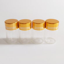 50pcs/lot 6ml Small glass bottle with Gold Aluminum cap Dry Goods Storage vial Home decoration crafts Candy Glass jar