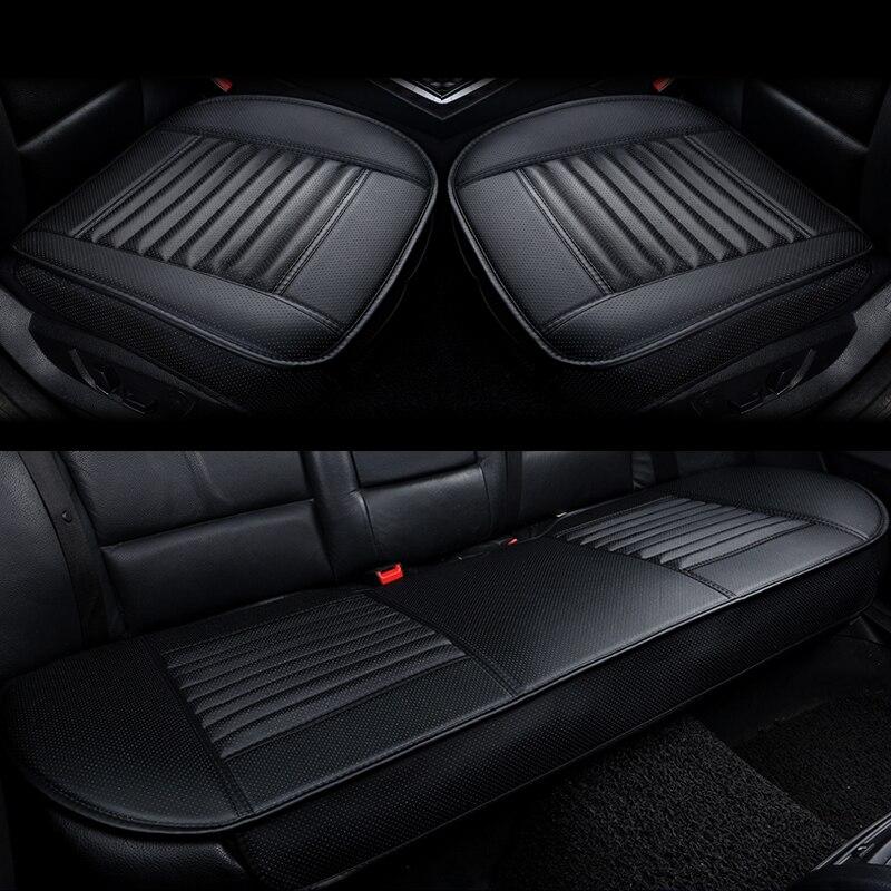3 шт./компл. коврик бамбуковый уголь заполненный PU кожаный сиденье автомобиля чехлы черное универсальное сиденье для стайлинга автомобиля Защитные подушки