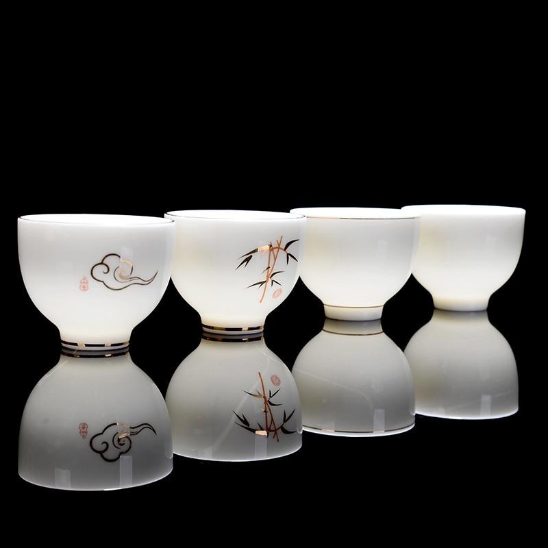 Premium Handpainted Ceramic Gong Fu Tea Cups Set