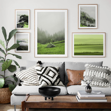 Mountain Forest Prairie Nordic Posters And Print Wall Art Canvas Painting Green Scenery Pictures For Living Room Home Decor