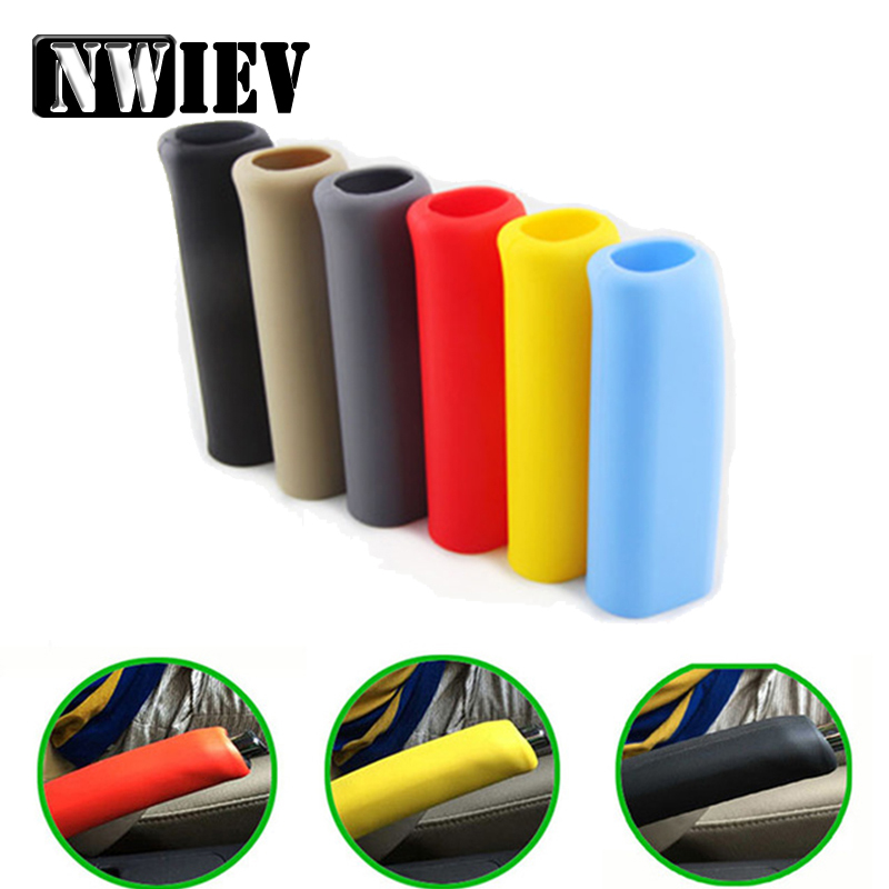 NWIEV Car Hand Brake Grips Covers For Mazda 3 6 CX-5 Abarth Fiat 500 BMW E60 E36 Mercedes Benz W204 Volvo XC90 V70 Accessories