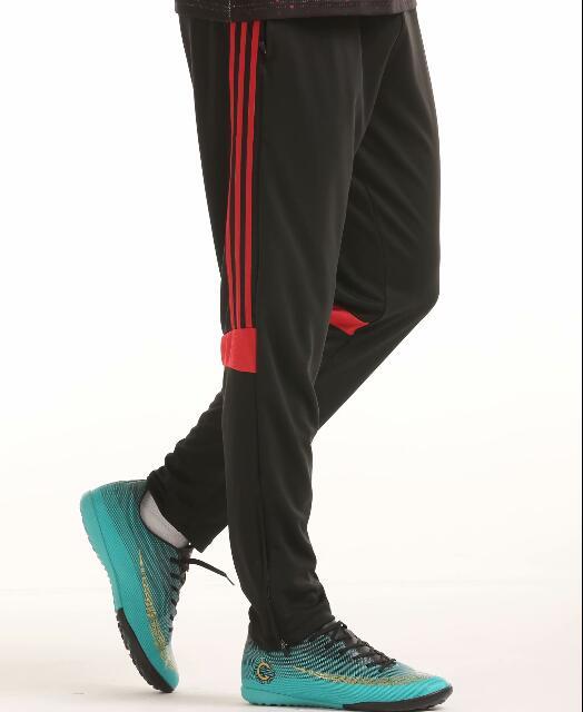 Футбольные тренировочные штаны мужские футбольные штаны из полиэстера с карманом на молнии для бега фитнес тренировки спортивные брюки для бега - Цвет: Красный