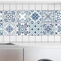 Mediterranean Style Flowers Pearl Film Tile Stickers Bathroom Living Room Waterproof PVC Wall Stickers Kitchen Wall